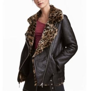 H&M Oversized Biker Jacket Faux Leather Leopard